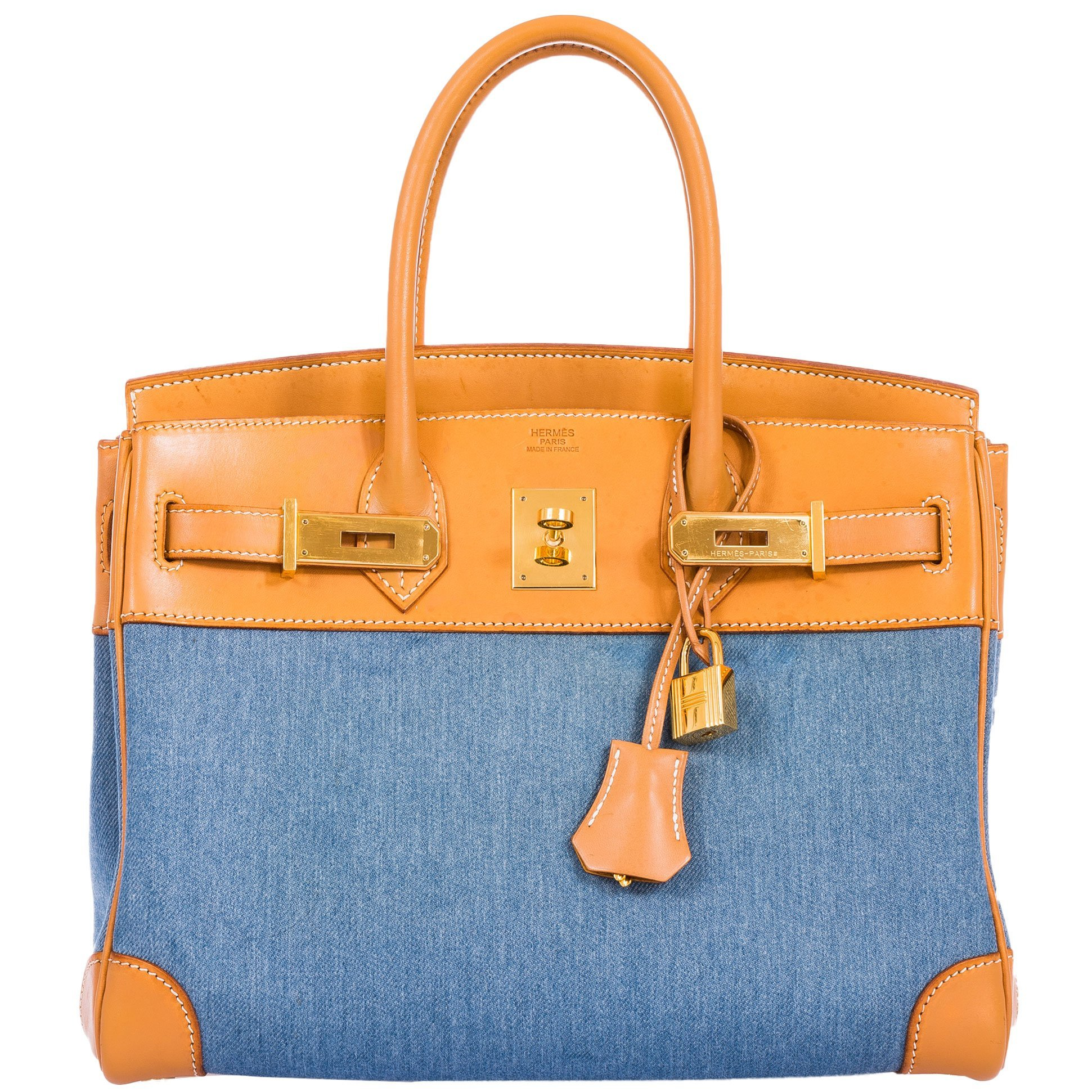 Hermes Birkin 30 Denim & Vache Naturelle Gold Hardware Lim