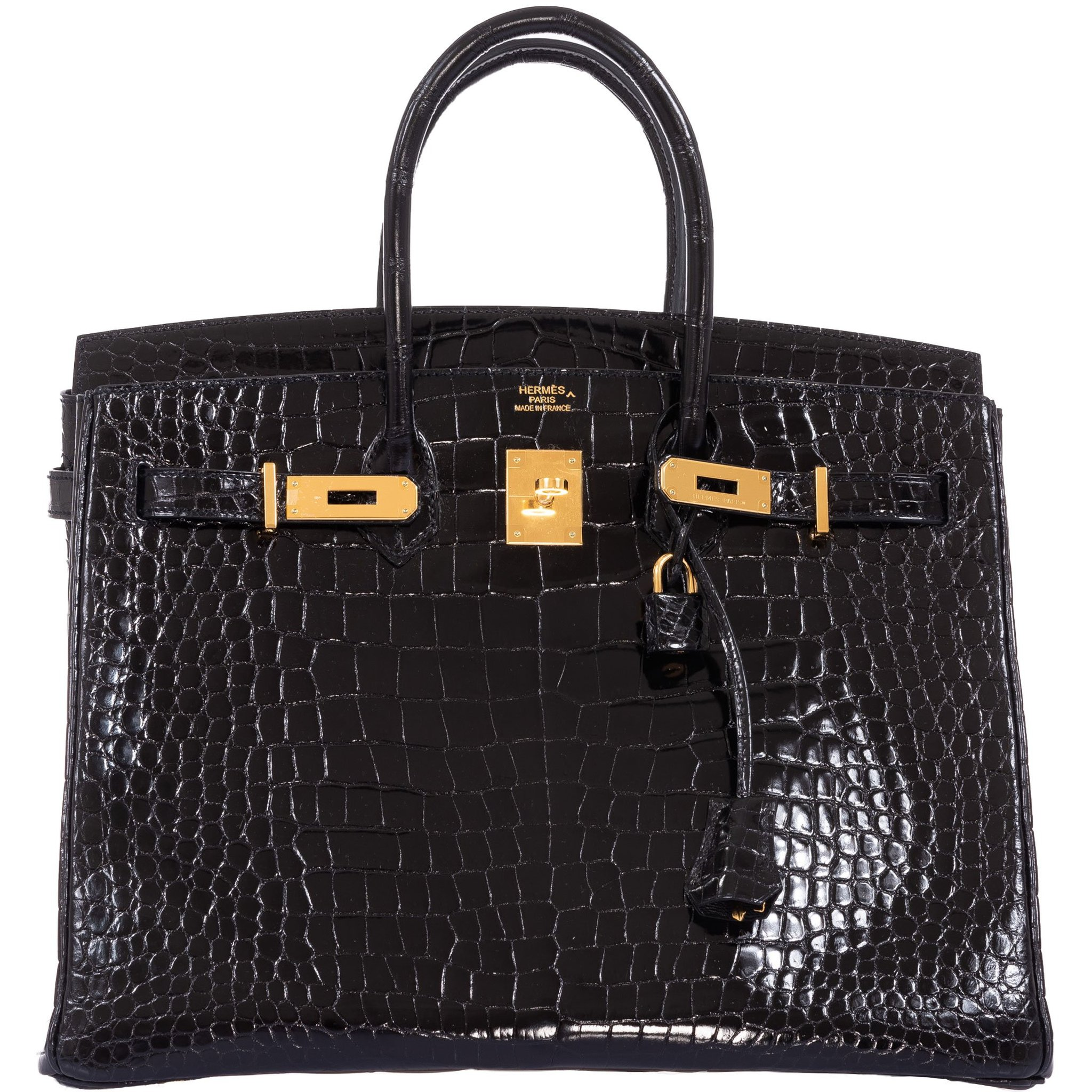 Hermes Birkin 35 Black Shiny Porosus Crocodile Gold Hardware