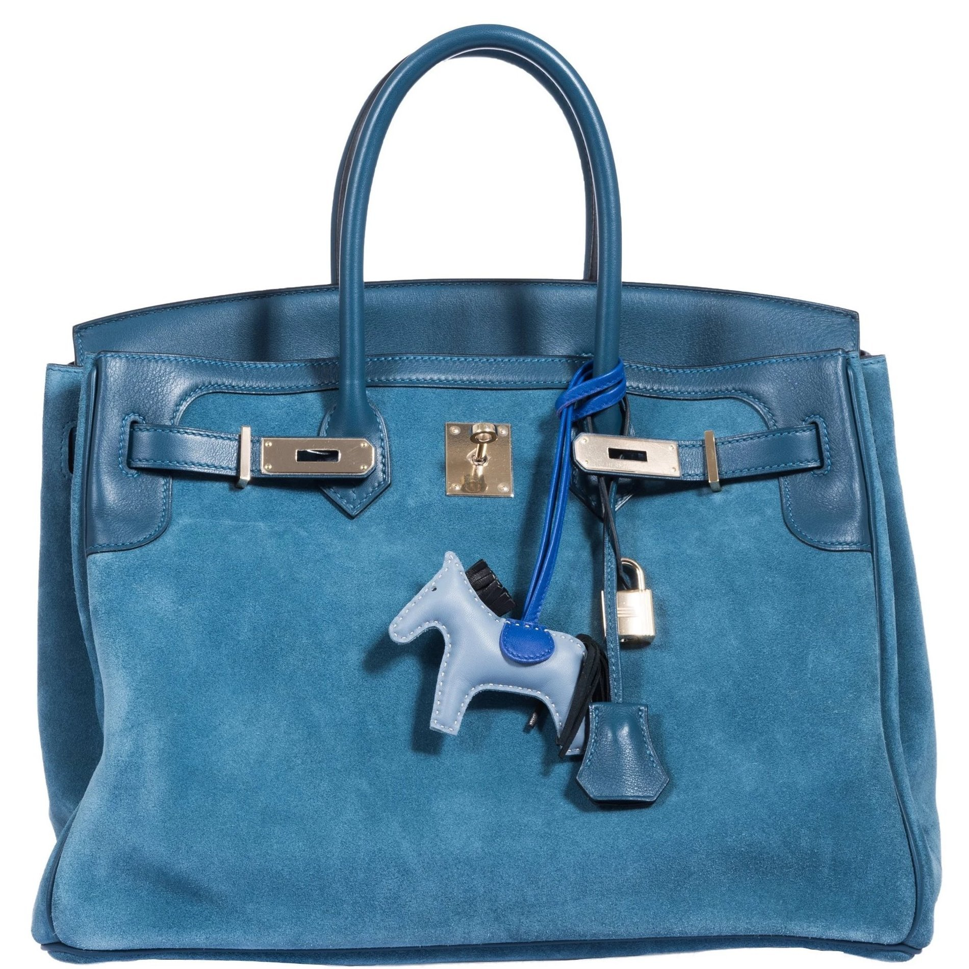 Hermes Birkin 35 Grizzly Thalassa Blue Suede Swift Permabrass Ha