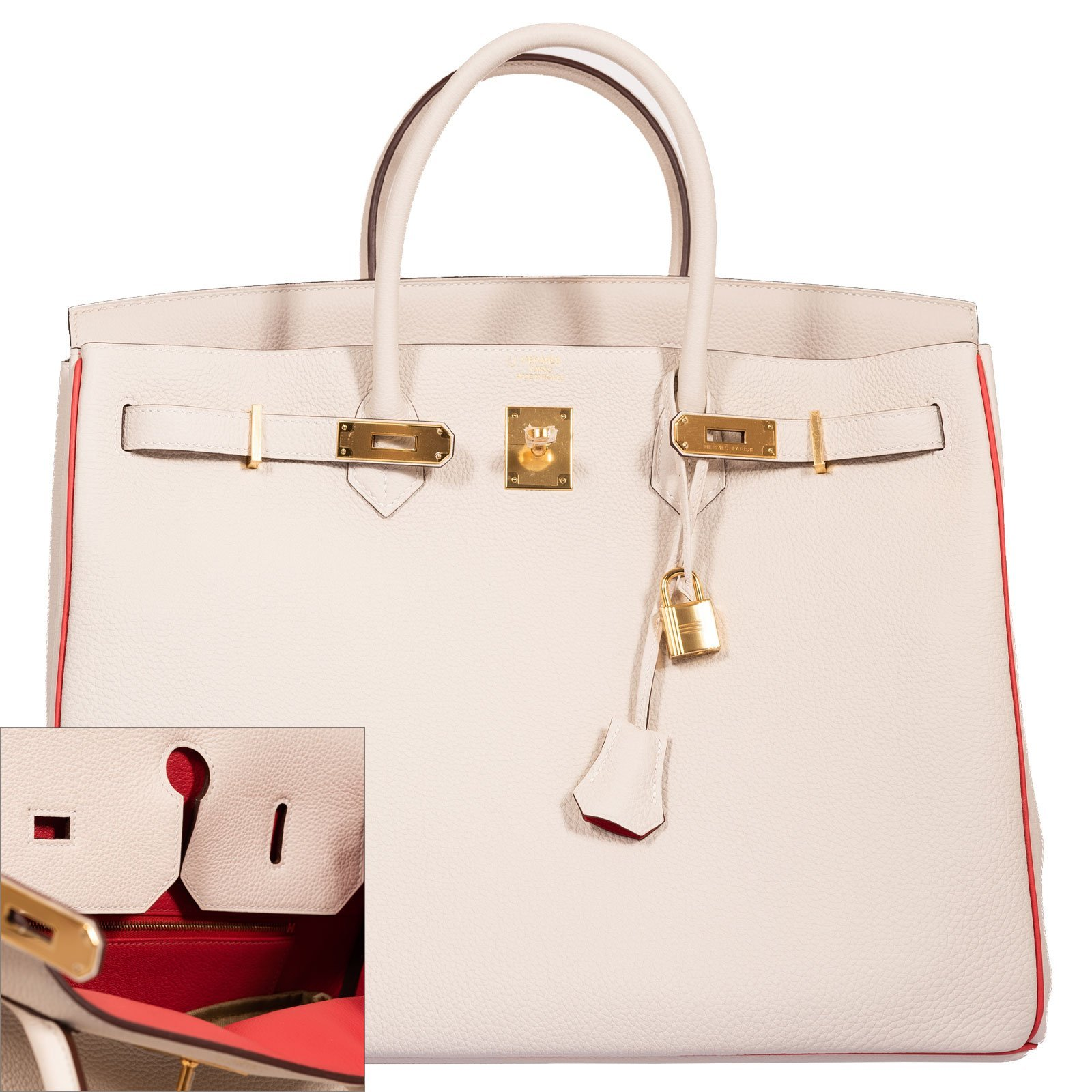 Hermes Birkin 40 HSS Craie And Vermillion Red Togo Gold Hardware