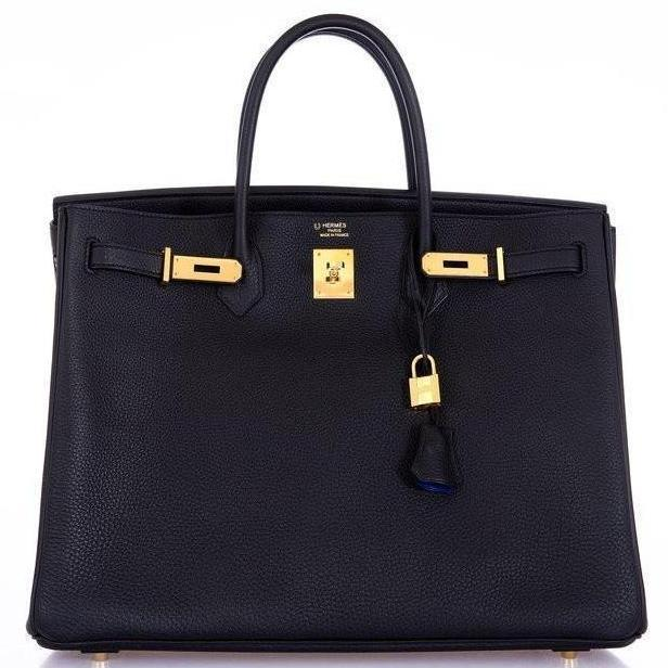 Hermes Birkin 40 Black With Bleu Electric Interior Togo Gold Har