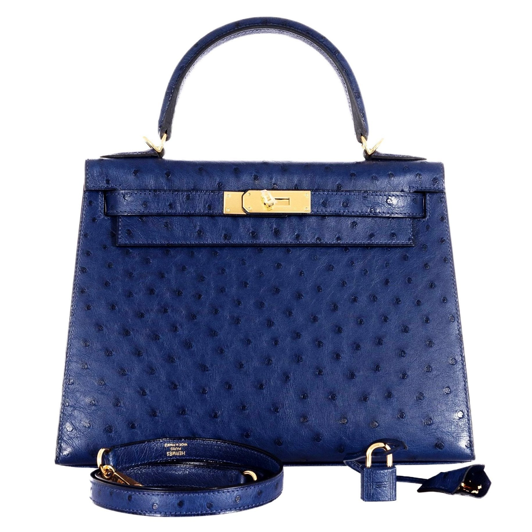 Hermes Kelly 28 Blue Iris Ostrich Gold Hardware Rare