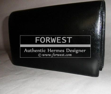 Auth Hermes Lydie Annie Black Box Leather 2 Way Shoulder Clutch