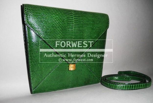 Auth Hermes Marigny Envelope Kelly H Lock Lizard Green Clutch Bag Rare