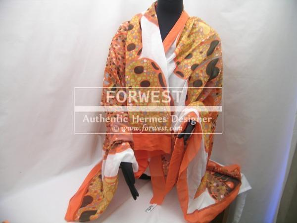 Auth Hermes Orange Mosaic Butterfly Xxl Scarf Wrap Rare