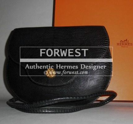 Auth Hermes Vintage Black Lizard Paula Shoulder Bag Clutch Rare