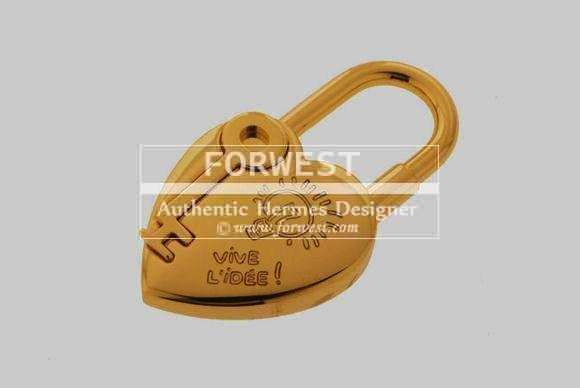 Authentic Hermes 2004 Heart Of Gold Cadena Lock Charm