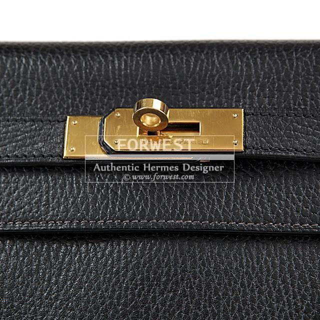 Authentic Hermes 28 Cm Black Fjord Leather Kelly