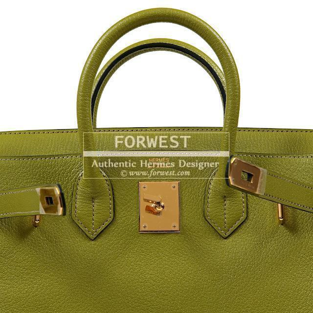 Authentic Hermes 28 Cm Lime Chevre Hac Birkin