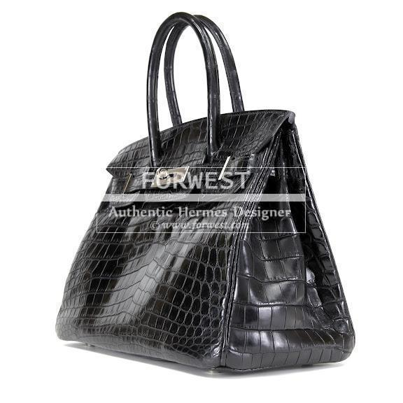 Authentic Hermes 30 Cm Black Niloticus Crocodile Birkin
