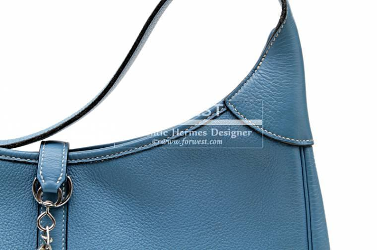 Authentic Hermes 31 Cm Bleu Jean Clemence Trim Bag