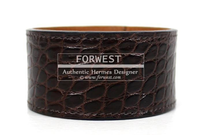 Authentic Hermes Alligator Matte Brown Bangle Bracelet