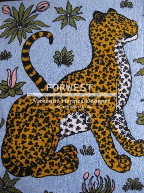 Authentic Hermes Beach Towel Leopards Babyblue