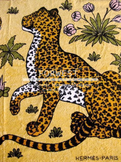 Authentic Hermes Beach Towel Leopards Yellow