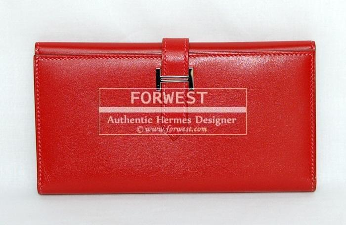 Authentic Hermes Bearn 2 Fold Wallet Rouge G Box P H W