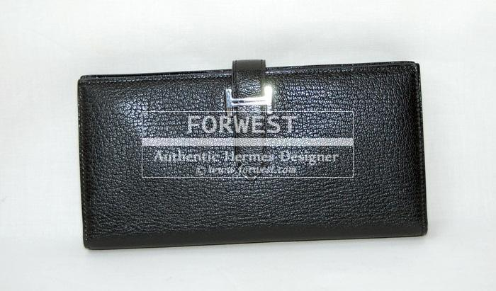 Authentic Hermes Bearn Black Chevre Wallet P H W
