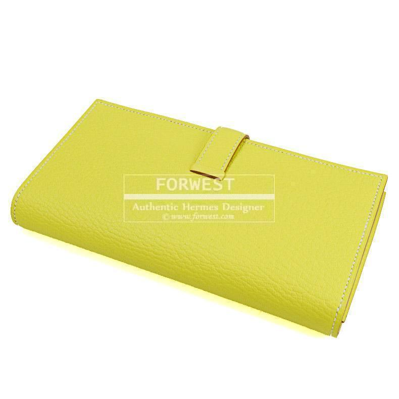 Authentic Hermes Bearn H Yellow Chevre Leather Long Wallet New