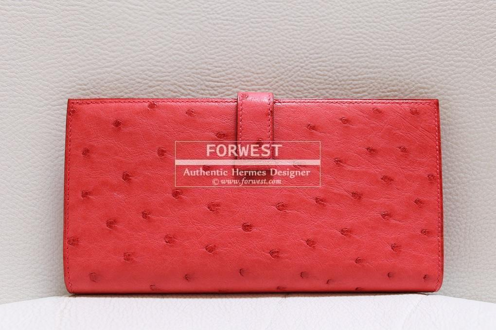 Authentic Hermes Bearn Wallet Bougainvillea Ostrich Phw Bnib