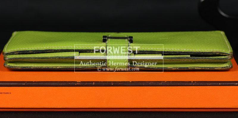 Authentic Hermes Bearn Wallet In Vert Anis Chevre With Box