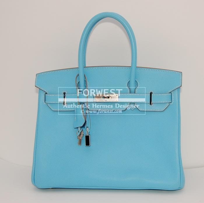 Authentic Hermes Birkin 30 Candy Celeste Mykonos P H W
