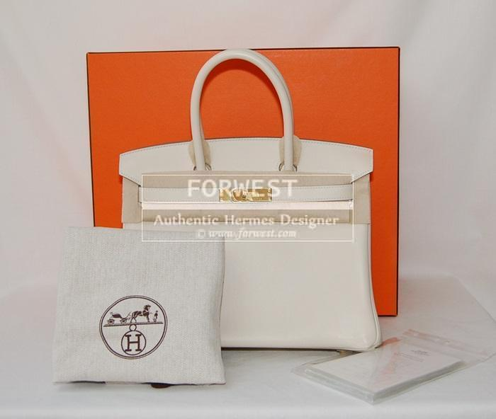 Authentic Hermes Birkin 30 Craie Swift With G H W