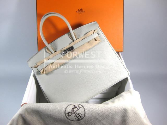 Authentic Hermes Birkin 35 Gris Perle Togo Leather Purse
