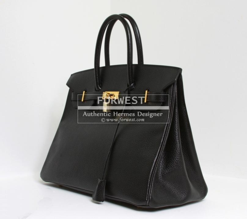 Authentic Hermes Birkin 35cm Black Clemence Leather Bag