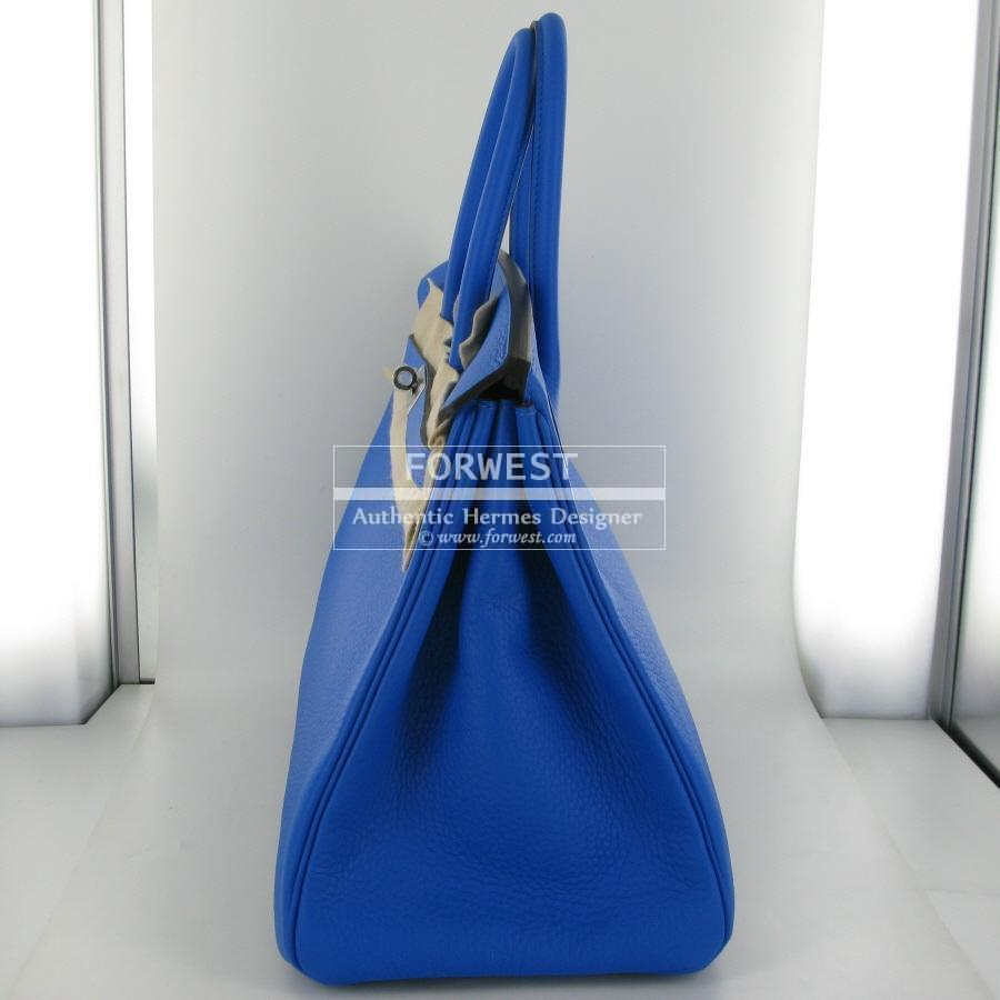 Authentic Hermes Birkin 35cm Blue Hydra Clemence Palladium Hw