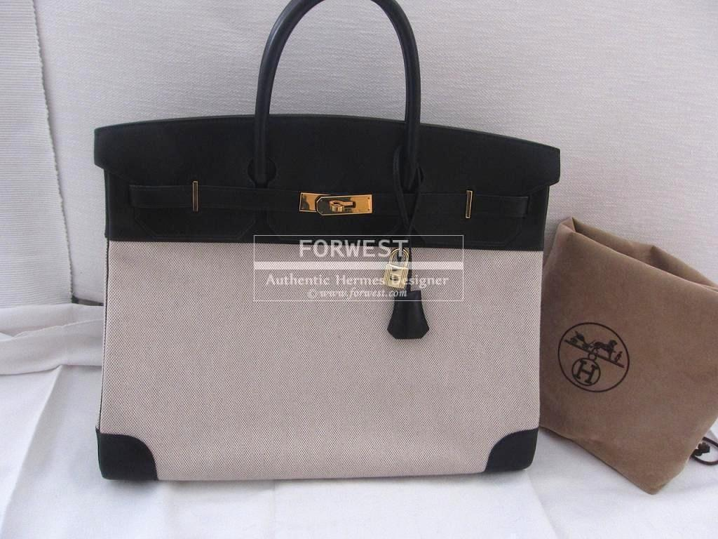 Authentic Hermes Birkin 40cm Black Box Toile Gold Hw