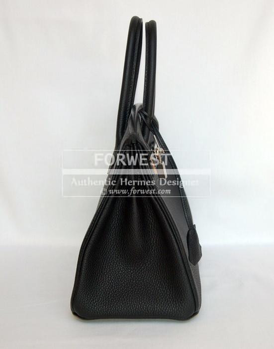 Authentic Hermes Black 30 Birkin Togo With P H W