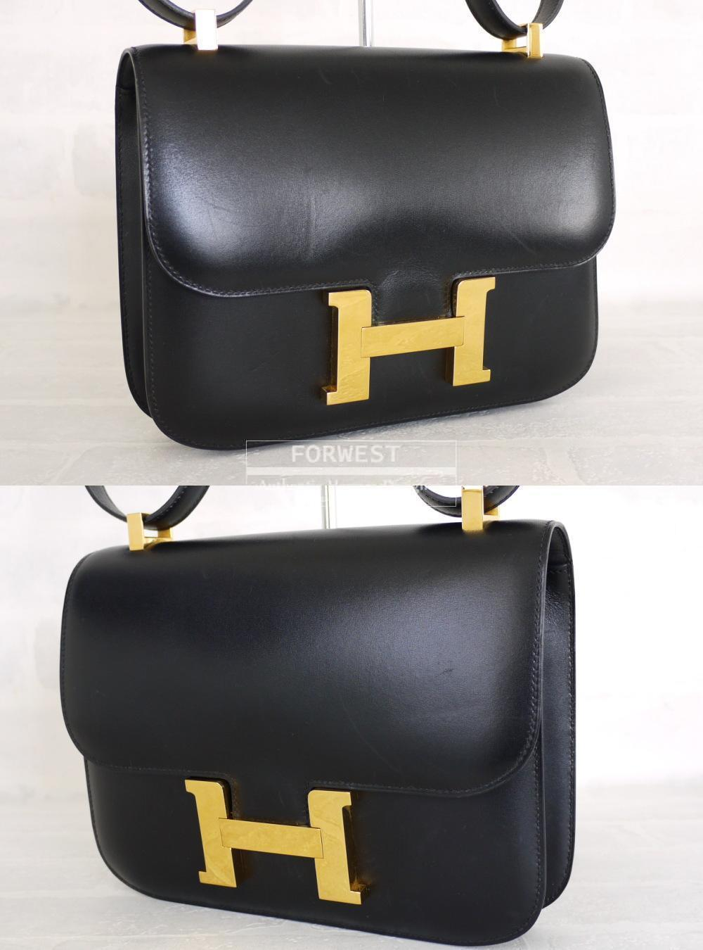 Authentic Hermes Black Box Calf 23cm Constance Bag Rare