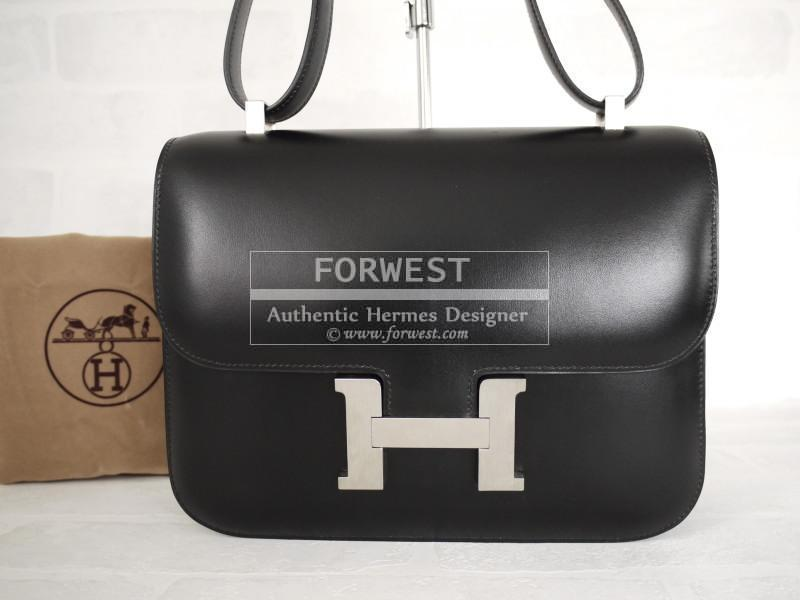 Authentic Hermes Black Box Calf 25cm Constance Silver Hardware Rare 7600 Over