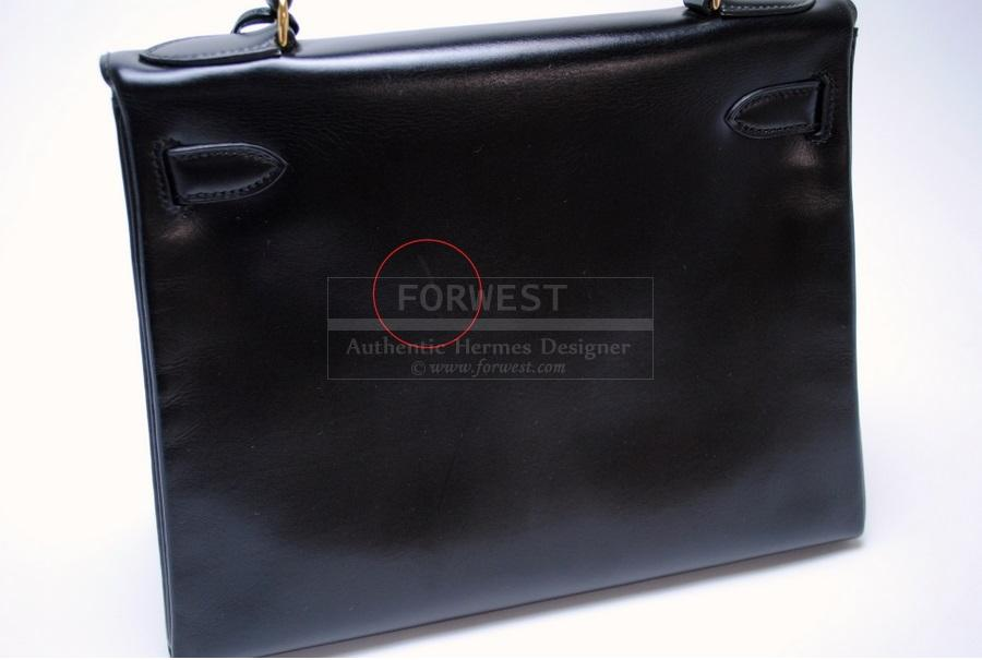 Authentic Hermes Black Box Calf 28cm Kelly Bag Outside Stitching