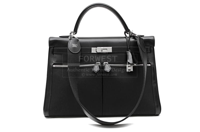Authentic Hermes Black Box Calf 32 Cm Lakis Kelly Bag