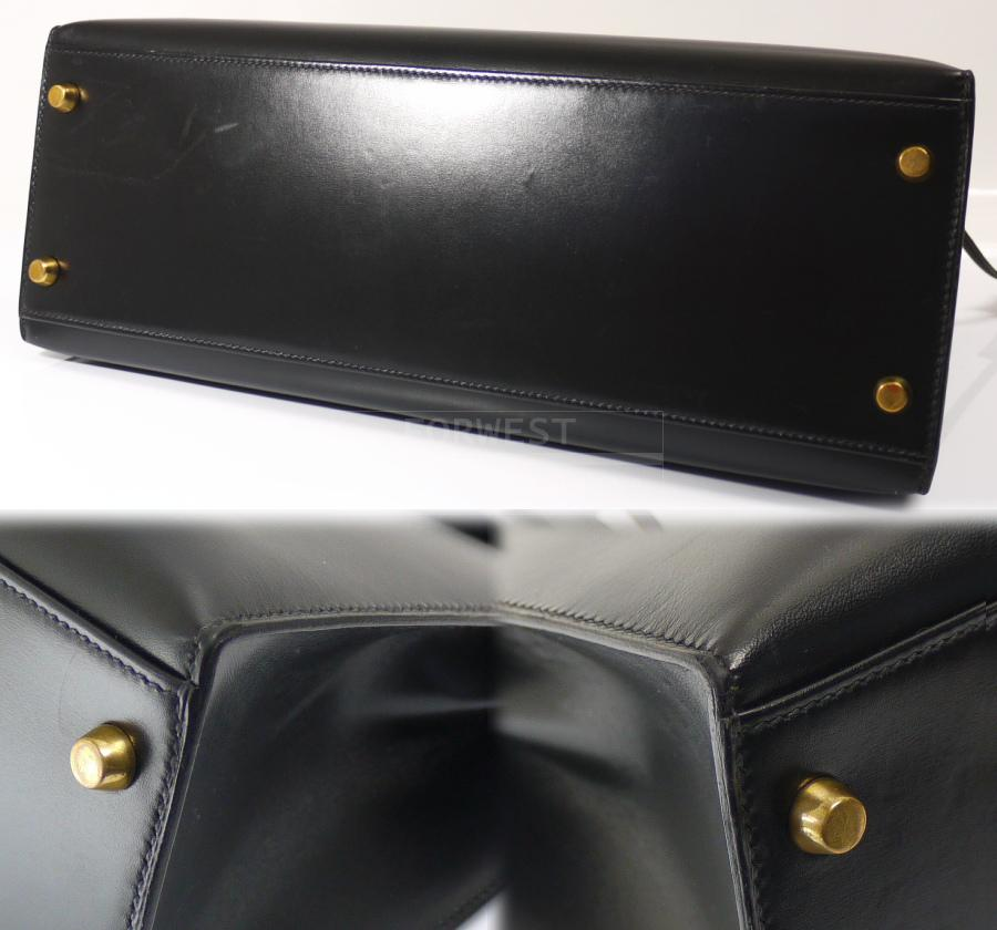 Authentic Hermes Black Box Calf 32cm Kelly Bag