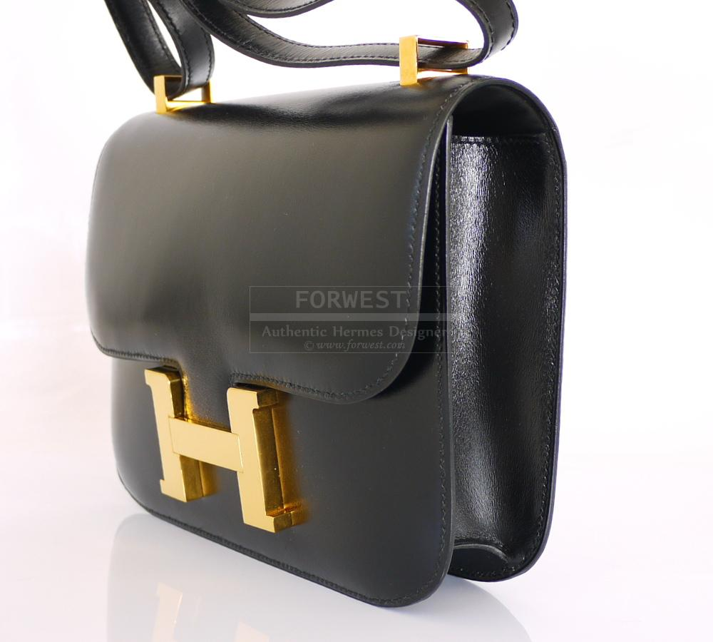 Authentic Hermes Black Box Calf Constance 23cm Rare Hard To Get