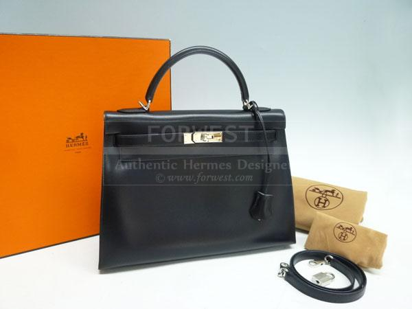 Authentic Hermes Black Box Calf Kelly32 Silver Hardware Complete