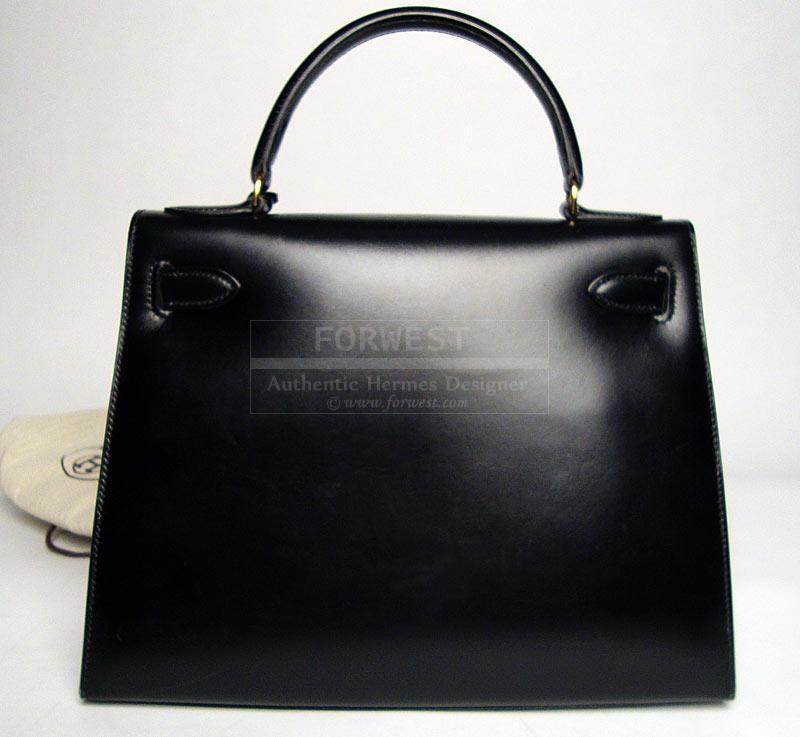 Authentic Hermes Black Box Calf Kelly Bag