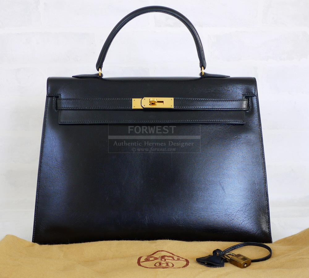 Authentic Hermes Black Box Calf Kelly Bag 35cm