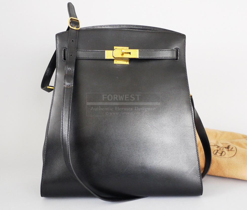 Authentic Hermes Black Box Calf Kelly Sport GM Shoulder Bag 8000 Rare