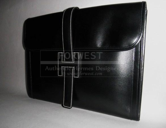6ede1c59d415 Authentic Hermes Black Box Leather Jige GM Portfolio Clutch Mint- 1798.0000