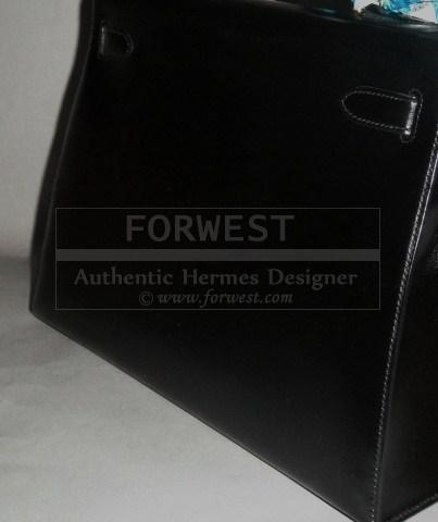 Authentic Hermes Black Box Leather Kelly 32 Bag Complete Set