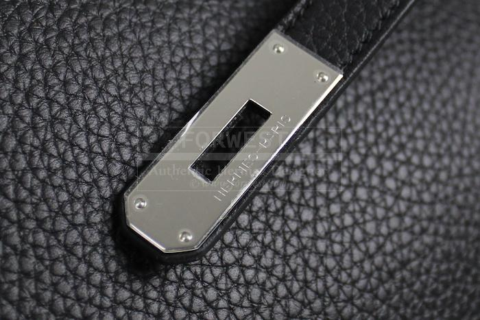 Authentic Hermes Black Clemence Birkin 35 Cm Bag New