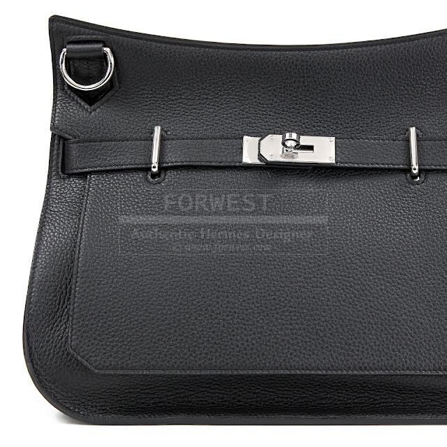 Authentic Hermes Black Clemence Jypsiere GM Bag