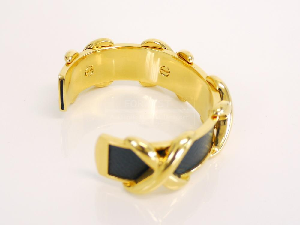 Authentic Hermes Black Couchevel Gold Bangle Bracelet Rare