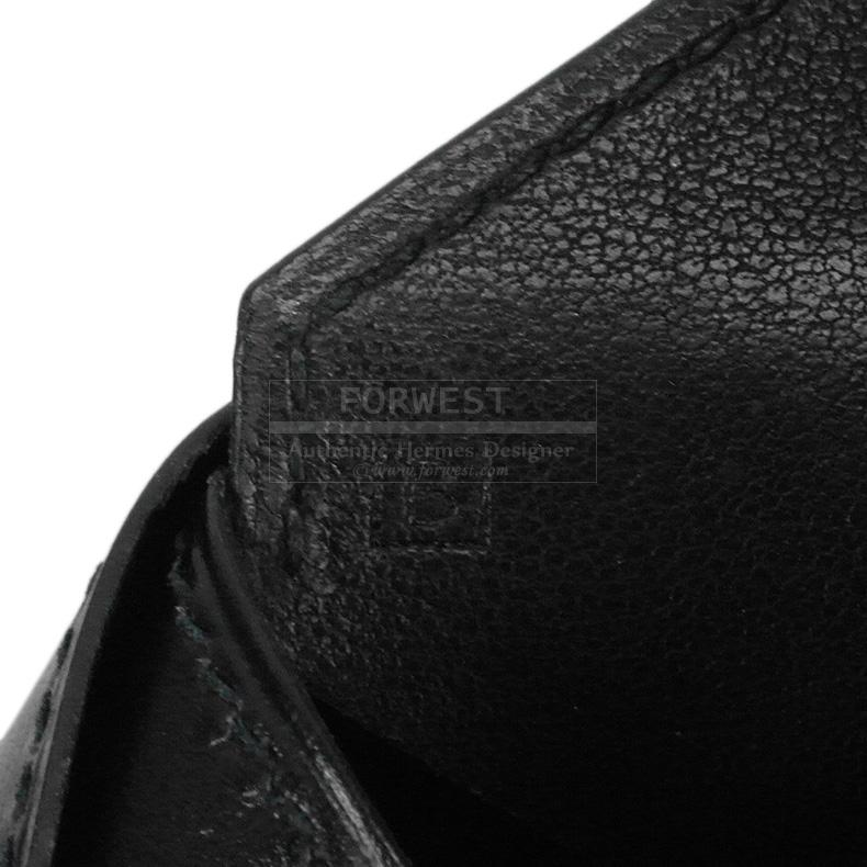 Authentic Hermes Black Leather Envelope Passport Holder Box