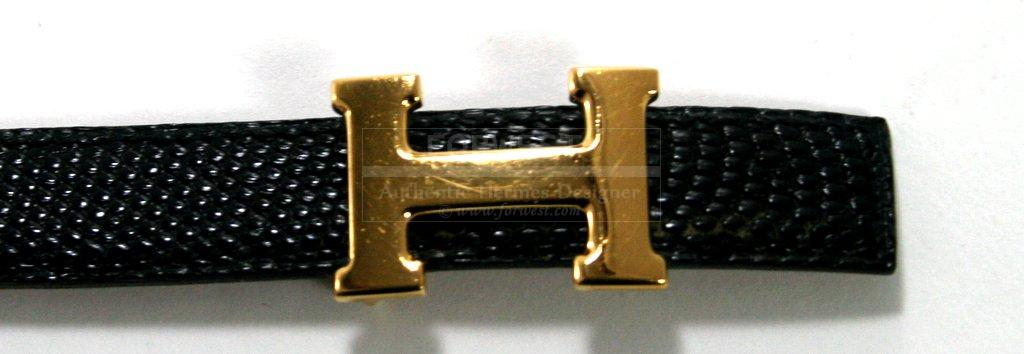 Authentic Hermes Black Lizard Small Belt