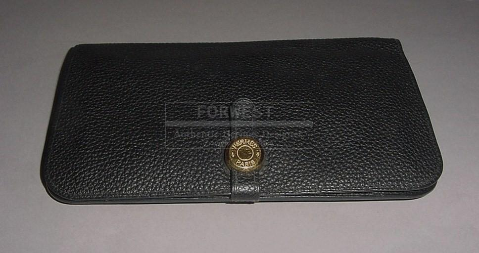 Authentic Hermes Black Togo Leather Dogon Combined Wallet