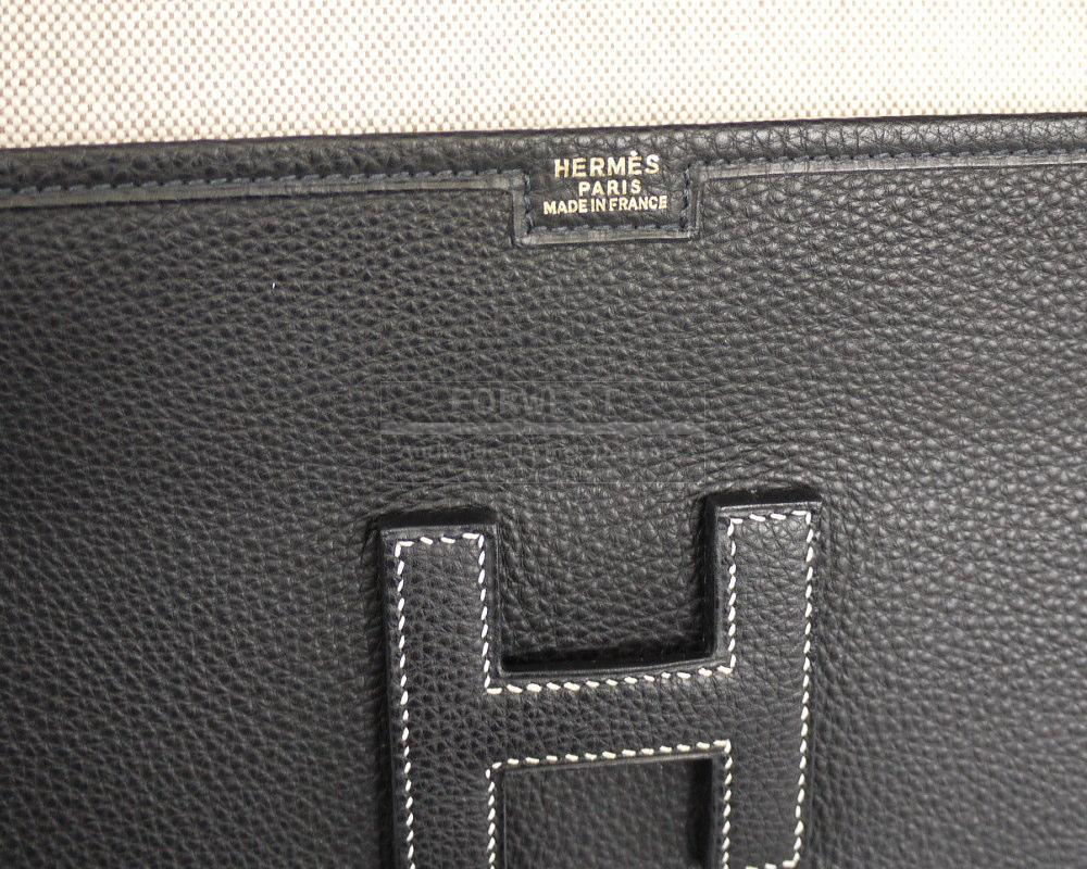 Authentic Hermes Black Togo Leather Jige PM Clutch Bag Complete Set