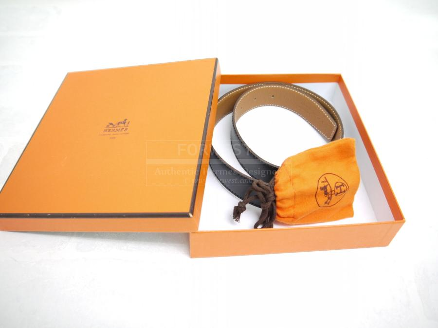 Authentic Hermes Black X Gold Reversible Constance Belt 65 Like New